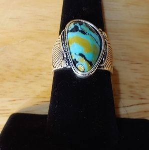 Turquoise Polished Cabochon. Antiqued. Sterling.